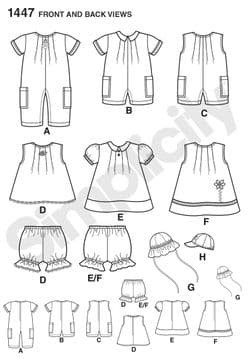 1447 Simplicity Pattern: Babies' Romper, Dress, Top, Pants and Hats